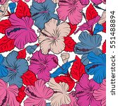 hibiscus flower seamless... | Shutterstock . vector #551488894