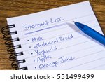 Small photo of A shopping list written in a notepad.
