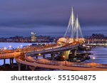 Saint-Petersburg, Russia - December 28, 2016: Night View Cable-stayed bridge over Petrovsky Fairway as part of Western High Speed Diameter. - stock photo
