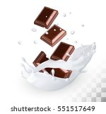chocolate in a milk splash on a ... | Shutterstock .eps vector #551517649
