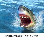 Great White Shark Jumping Out...