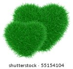 Green grass heart shape. 3d rendering isolated on a white - stock photo