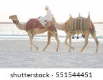 Arab Man Riding Camels On The...