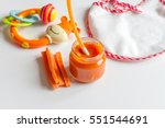 baby mashed with spoon in glass ... | Shutterstock . vector #551544691