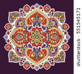 indian floral paisley medallion ... | Shutterstock .eps vector #551545171