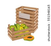 wooden box full of papaya... | Shutterstock .eps vector #551548165