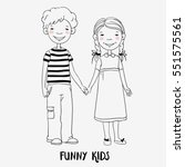 funny kids. boy and girl... | Shutterstock .eps vector #551575561