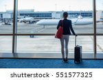businesswoman traveling in... | Shutterstock . vector #551577325