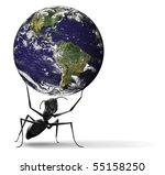 nature conservation global ecology safe fragile planet small ant lifting blue earth preservation sustainable management illustration Some components  courtesy of NASA, http://visibleearth.nasa.gov/ - stock photo