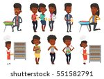 african american young friends... | Shutterstock .eps vector #551582791