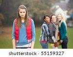 upset teenage girl with friends ... | Shutterstock . vector #55159327