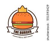 burger logo emblem colored... | Shutterstock .eps vector #551593429