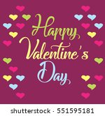 happy valentine's day lettering ... | Shutterstock .eps vector #551595181