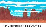 desert landscape with cactuses...   Shutterstock .eps vector #551607451