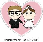 cute young couple  bride and... | Shutterstock .eps vector #551619481