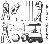 vintage golf elements... | Shutterstock .eps vector #551627785