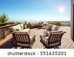 wooden deck at daytime with... | Shutterstock . vector #551635201