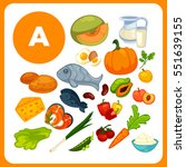 set organic food with vitamin a.... | Shutterstock .eps vector #551639155