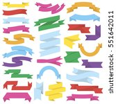 vector set of ribbons and... | Shutterstock .eps vector #551642011