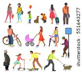 set of people. walking girl and ... | Shutterstock .eps vector #551643277