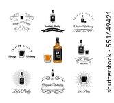 bottle and glasses alcohol... | Shutterstock .eps vector #551649421