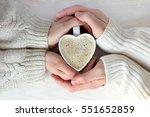 coffee heart shaped in embraces ... | Shutterstock . vector #551652859