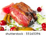 prime beef chunk with red and... | Shutterstock . vector #55165396