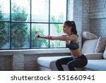 asian women exercise indoors... | Shutterstock . vector #551660941