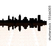 Montreal skyline with perspective text outline foreground - stock vector