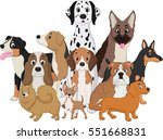 illustration set of funny dogs... | Shutterstock .eps vector #551668831