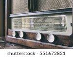 obsolete radio in wooden case.... | Shutterstock . vector #551672821