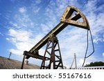 old rusty oil pump jack against ... | Shutterstock . vector #55167616