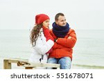 young loving couple on a walk   ... | Shutterstock . vector #551678071