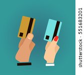 hand holding credit card  vector   Shutterstock .eps vector #551683201