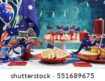 australian theme party table... | Shutterstock . vector #551689675