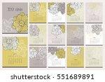 floral calendar. hand drawn... | Shutterstock . vector #551689891