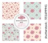 set of seamless patterns with... | Shutterstock .eps vector #551699941