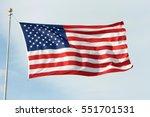 American Flag Waving  Blowing...
