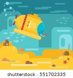 submarine under water concept... | Shutterstock .eps vector #551702335