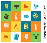 school and education icon set.... | Shutterstock .eps vector #551713591