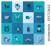 school and education icon set.... | Shutterstock .eps vector #551713615