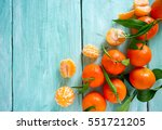 Tangerines With Green Leaves O...