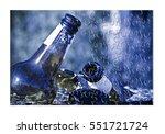 smashed bottle of beer resting... | Shutterstock . vector #551721724