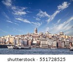 cityscape with galata tower... | Shutterstock . vector #551728525