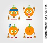 cute and funny orange fruit... | Shutterstock .eps vector #551730445