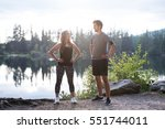 beautiful young runners at the... | Shutterstock . vector #551744011