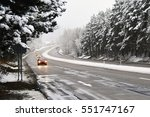 Cars On Winter Road With Snow....
