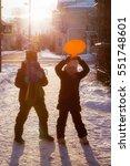 children are on the street in... | Shutterstock . vector #551748601