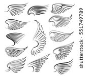 vector wings isolated on white... | Shutterstock .eps vector #551749789