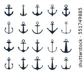 Anchor Icons. Vector Boat...